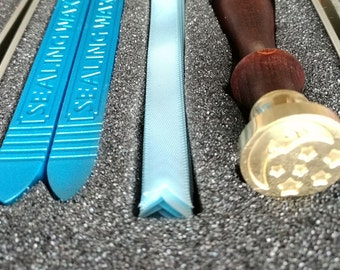 sealing wax stick & stamp with silk a kit for seal - moon and stars