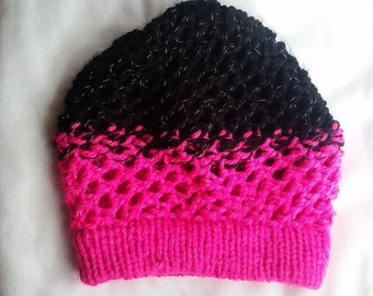 Neon Pink and Black reflective slouch beanie