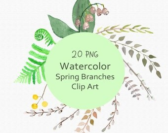 20 PNG Watercolor Spring Branches Clip Art