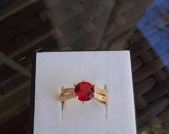 18k Gold plated Red topaz and simulated diamond ring