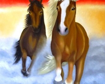 Running free, large oil painting, vibrant colours