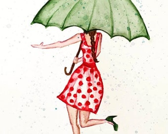 Polka Dot Umbrella Girl - Print