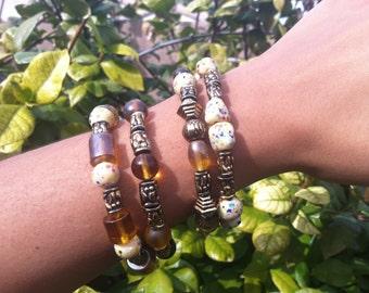 4 Natural Tone Bracelets
