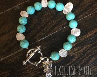 Owl bracelet, turquoise bracelet, turquoise owl bracelet, owl beaded bracelet, white stone bracelet, beaded bracelet