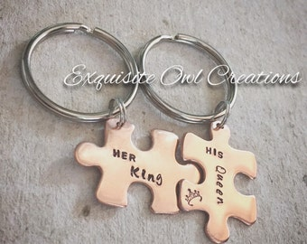 His and Hers Keychains, His and Hers, King and Queen, Her King His Queen, Puzzle Piece Keychains, Couples Keychains, Copper Keychain