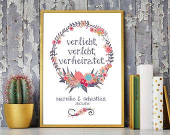 Wedding day art print, anniversary mural 'in love, engaged, married', personalized DIN A4