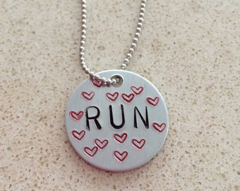 Hand Stamped Run Necklace
