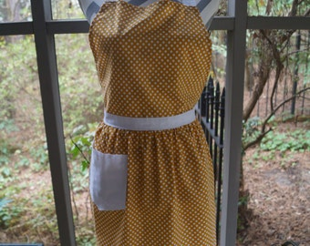 Full Apron Yellow-Brown and White Polka Dots