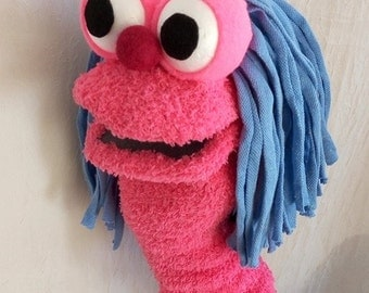 Pink sock puppet , moving mouth puppet , hand puppet , therapy and educational puppet , funny puppet
