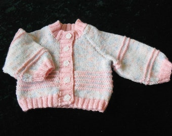 Baby girl's cardigan - pink and white - 0-6 months