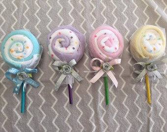 Washcloth Lollipops! BABY SHOWER GIFT