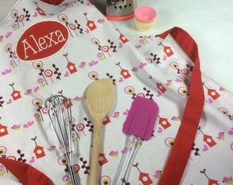 Kids Personalised Apron Chef Hat. Personalised Apron &/or Personalised Apron, Chef Oufit Personalised Kids Chef Hat, Birdhouse Apron