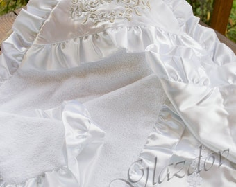 White christening blanket personalized, christening towel, personalized baptism gifts