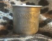 Vintage antique kitchen SWANS DOWN Cake Flour aluminum measuring cup w/handle & spout