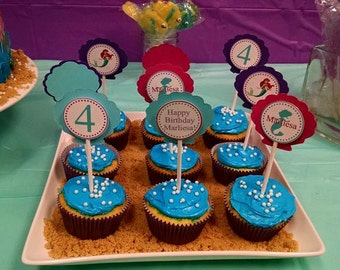 The Little Mermaid INSPIRED Cupcake toppers (24), Mermaid Cupcake Toppers, Ariel Cupcake Toppers, Under the Sea Birthday