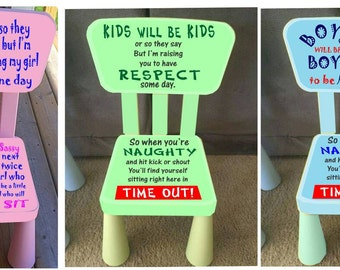 Boy or Girl or Kids time out chairs with removable timers.