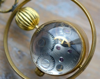 Mechanical Pocket Watch Necklace Wind-up 3-Pin Functional WORKING Clock Rotating Bubble Glass Face and Brass Casing Vintage Style (B054)