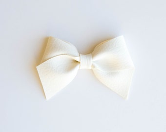 Ivory | Leather Bow (Headband or Clip)