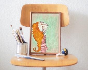 Pastel, Illustration, Portrait, Print, Wall Art, Wall Decor - THINKING PORTRAIT 1