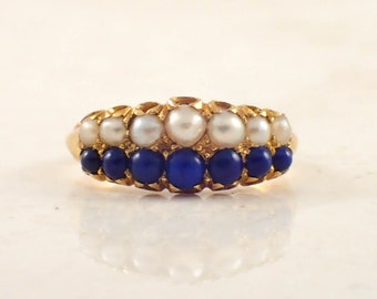 18K Yellow Gold Pearl and Lapiz Ring