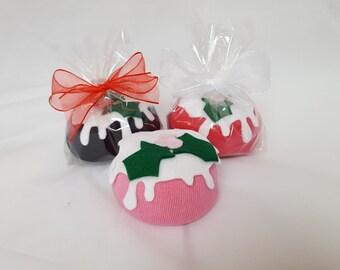 Ladies & Mens Sock Cupcake Christmas Pudding Gift With Cotton socks.