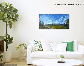 Afternoon Meadow. Green, Blue, Yellow, Original Landscape Painting, Acrylic on Canvas, 12 x 24 in.