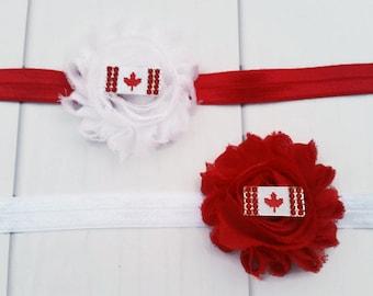 Red & White Canada Day Shabby Headband, Canada Day Headband, Canada Flag Headband, Red and White Headband, Shabby Chic Headband