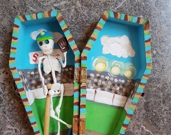 Sugar Skull Baseball Coffin