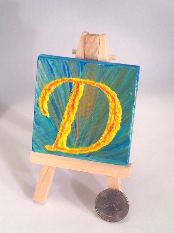 Initial Handpainted Mini Canvas / Free Display Easel