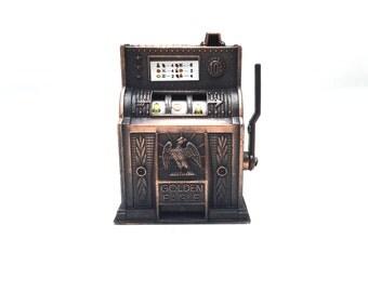 Vintage retro jackpot slot machine miniature pencil sharpener,die cast miniature,retro jackpot slot machine, toy pencil sharpener