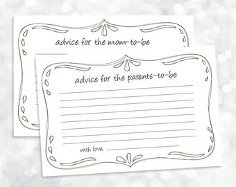 Advice for Mom to Be Parents to Be Printable - Baby Shower Game - Simple Elegant Gender Neutral  - Instant Download - 020
