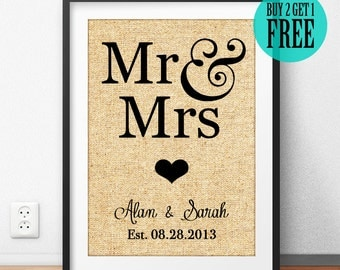 Burlap Print, Personalized Wedding Decor, Rustic Wedding Sign, Wedding Gift for Couple, Anniversary Gift, Gift for Husband, Home Decor, CM76
