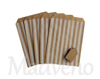 Lot of 10 white striped kraft paper bags