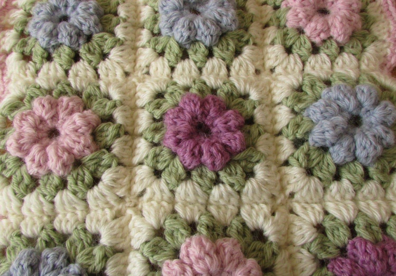 Crochet Puff Stitch Flower Granny Square Written Pattern