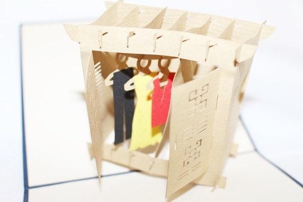 3D Closet With Clothes Pop Up Card, Pop Up Greeting Car