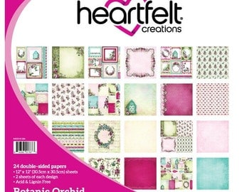 Heartfelt Creations Botanic Orchid Collection Paper Pad - Hummingbird Paper - 12x12 - Green And Pink Paper - Cardstock Paper