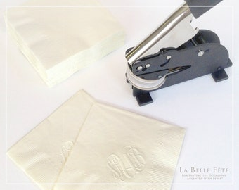 """CUSTOM MONOGRAM EMBOSSER - 2"""" round, long reach for embossing farther away from the edge of the page"""