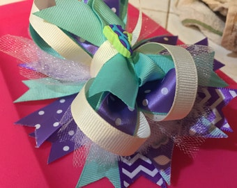 Light Blue and Purple Girls Embellished Boutique Bow