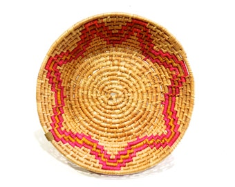 VINTAGE: Mexican Indian Coiled Tray Baskets - Hand Woven and Hand Dyed Mexican Basket - Coiled Tray - SKU 27-A-00005734