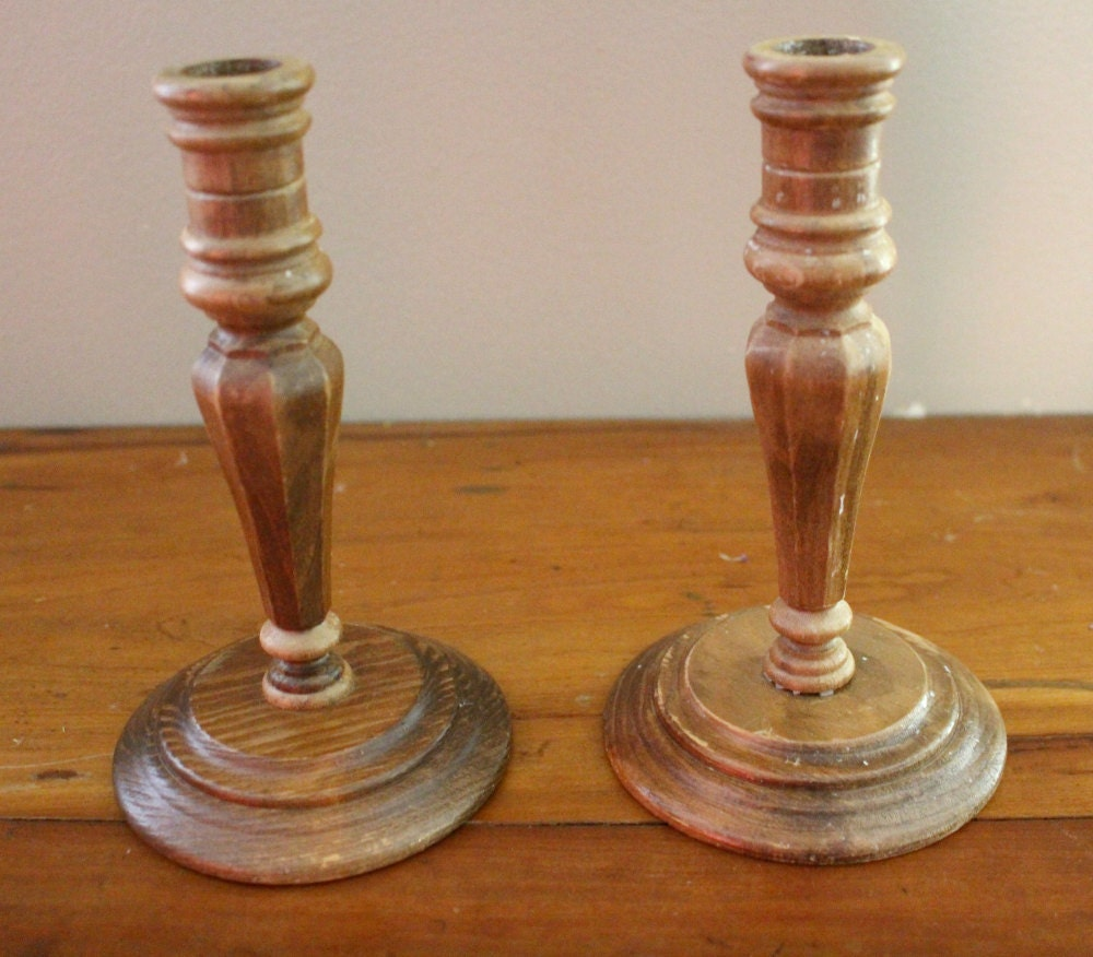 Vintage wood candlestick holders set of rustic wooden