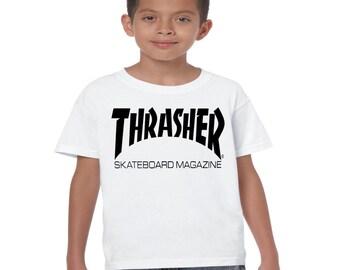 kids thrasher t shirt kids unisex skateboard t-shirt birthday any occasion skateboard magazine