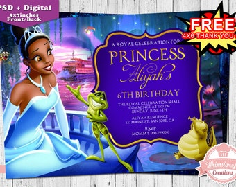Princess and the Frog Invitation, Princess and the Frog Birthday Invitation, Birthday Invitation Card, girls Birthday, Princess Tiana invite