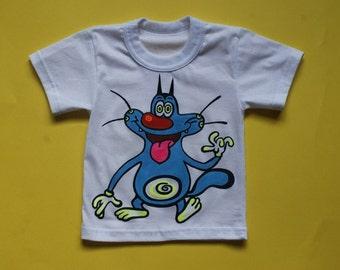 Hand painted,cat oggy,100% cotton T-shirt, ,cartoon shirt,baby clothing,gift,painted T-shirts,Handmade,kids cartoon,