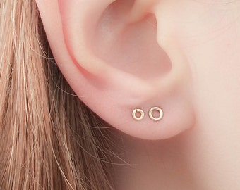 SALE - Tiny Circle Earrings - Tiny Round Studs - Tiny Circle Studs - Petite Earrings - Petite Studs - teeny tiny studs - teeny tiny earrings