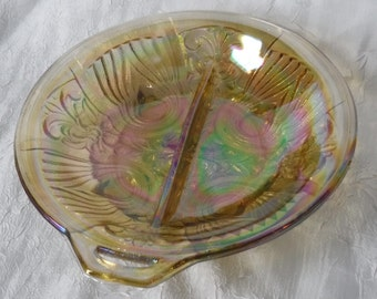 Amber Carnival Glass Serving Dish  Vintage 1960's Divided Glass Serving Dish