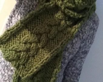 Braided knit green scarf
