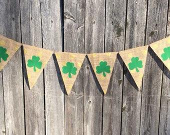 St. Patrick's Day Banner/Burlap Banner/Shamrock on Gold Dots