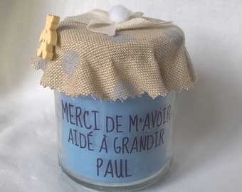 Candle to thank the nanny lin to customizable blue peas with gift bag
