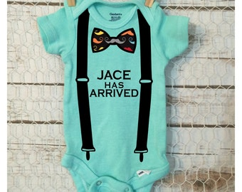 Personalized Boys Mustache Bow Tie & Suspenders Onesie - Boys Newborn Picture