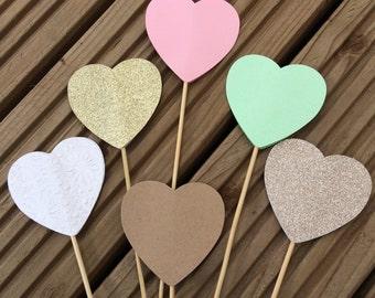 x100 Heart Lollipops - hearts on a stick wedding aisle decorations